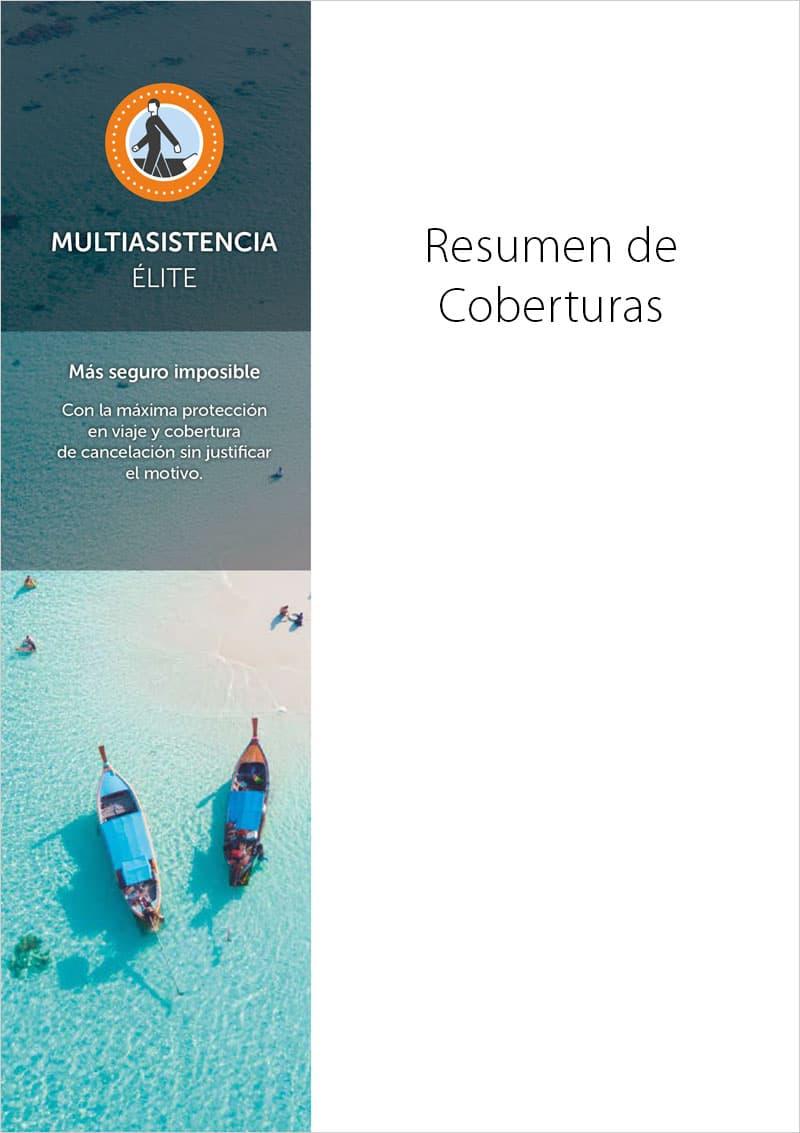 portada Seguro viajes Multiasistencia Élite Resumen de coberturas